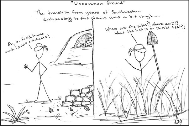 """Comic in response to ArchInk prompt """"Uncommon Ground,"""" showing an archaeologist easily finding artifacts and features in the southwest USA, while having a much harder time in the grasslands/plains of the USA."""
